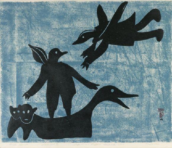 Napatchie Pootoogook_Bird Spirits_stonecut_1960
