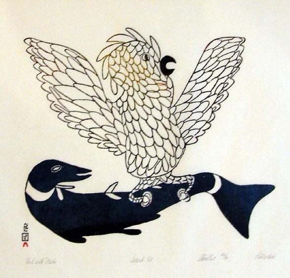 Pitseolak Ashoona_Owl with Fish_stonecut_1968