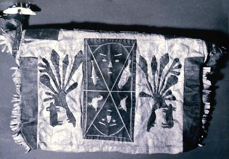 The sealskin bag made by Kenojuak in 1958 and from which she drew the inspiration for her first print_Rabbit Eating Seaweed