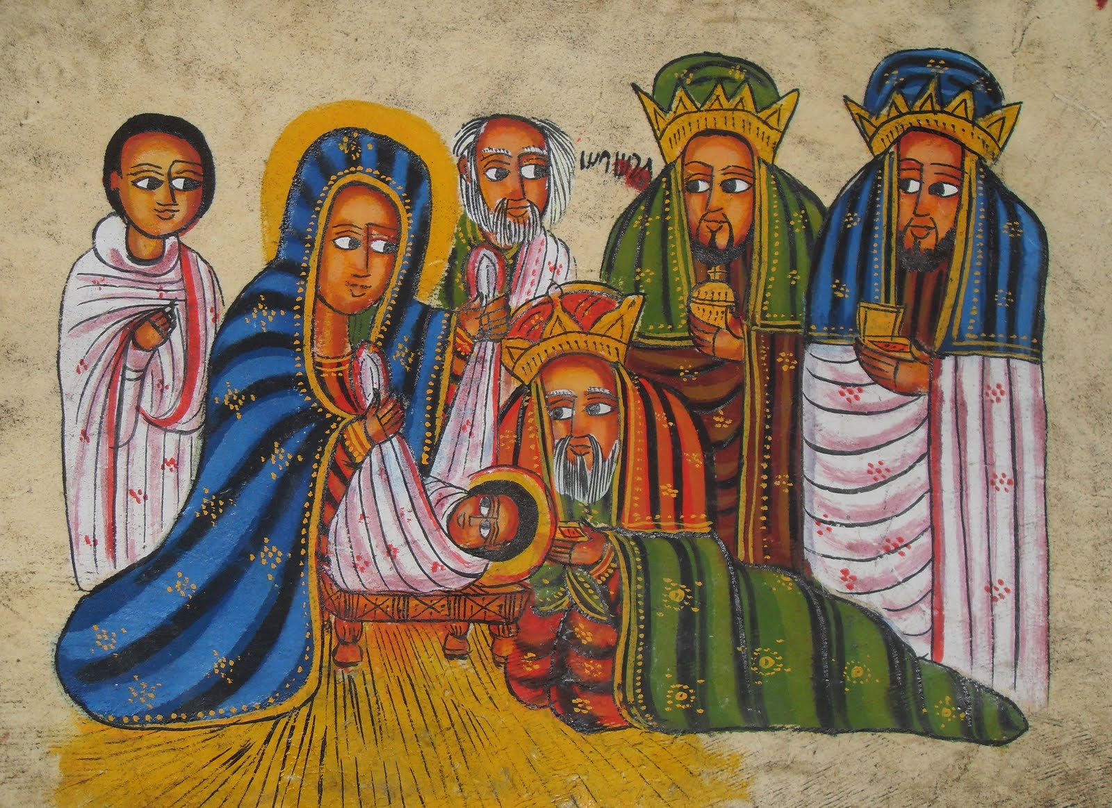 zp_ethiopian nativity scene painted in a traditional style - When Is Ethiopian Christmas