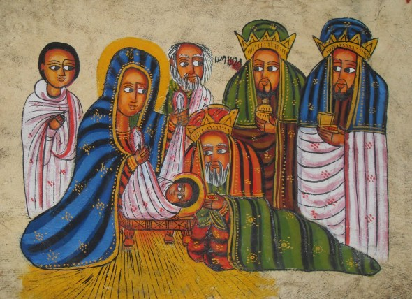 ZP_Ethiopian Nativity Scene painted in a traditional style