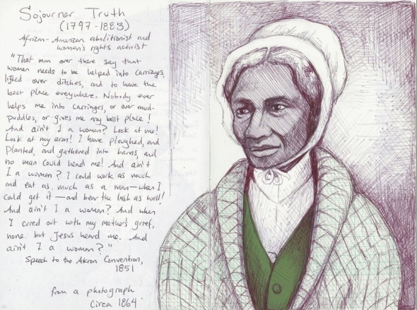 ZP_Sojourner Truth portrait plus quotation_courtesy of artist Alex Tree_Red Gold Sparks