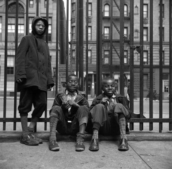 Gordon Parks photographer_Street scene_Three young boys_Harlem_NYC_1943