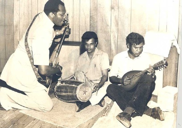 Lord Shorty (later Ras Shorty) with Robin Ramjitsingh and Bisram Moonilal_early 1970s