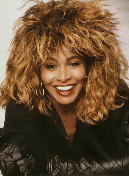 Tina Turner with her signature hairdo from the 1980s