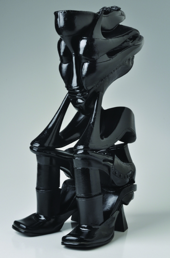 Willie Cole_Black Worrier_sculpture constructed of women's shoes