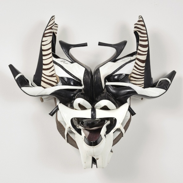 Willie Cole_Zebra-town Mask_a sculpture in shoes