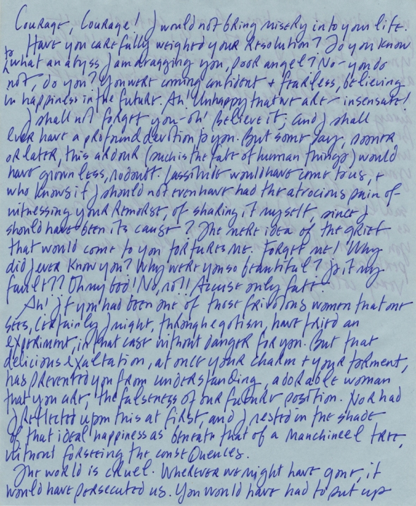 Janice Kerbel_one page of A letter by Rodolphe Boulanger de Huchette to Emma Bovary written by Gustave Flaubert in my hand