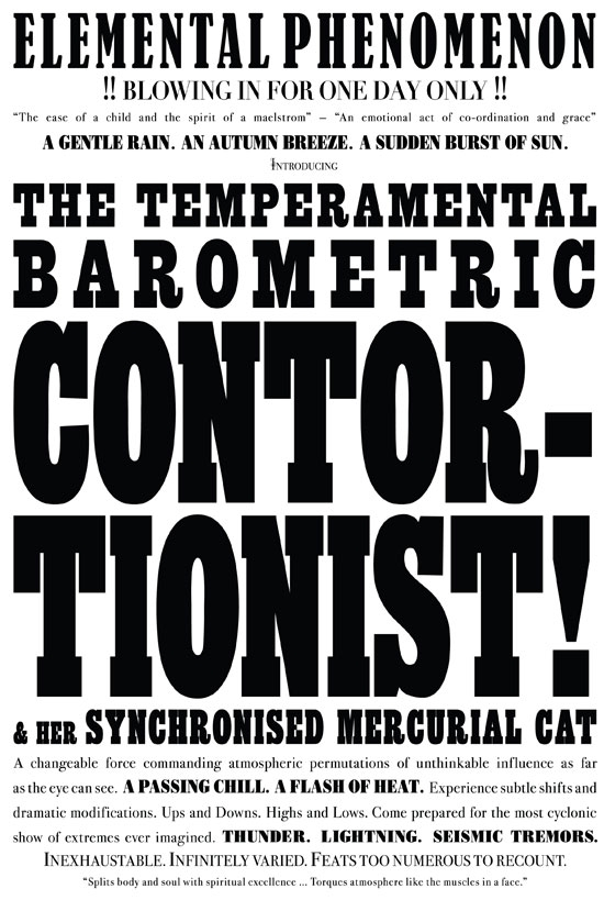 Janice Kerbel_silkscreen print on campaign poster paper_The Temperamental Barometric Contortionist_2007