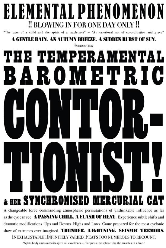 Janice Kerbel_silkscreen print on campaign poster paper_The Temperamental Barometric Contortionist_2007