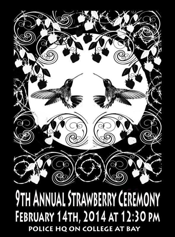 """Ceremonia de Fresa (""""Baya de Corazón"""") por Las Mujeres Indígenas – Desaparecidas o Matadas – en Canadá_Lugar: en frente de la sede central de policía en Toronto_14 de febrero, 2014_Strawberry Ceremony 2014_For Missing or Murdered Aboriginal Women in Canada_Toronto, Canada"""