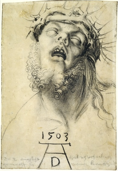 Albrecht Dürer_Head of The Dead Christ_a charcoal drawing dated 1503