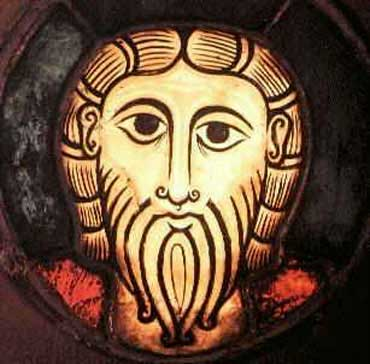 An old stained glass image of a Celtic Christ