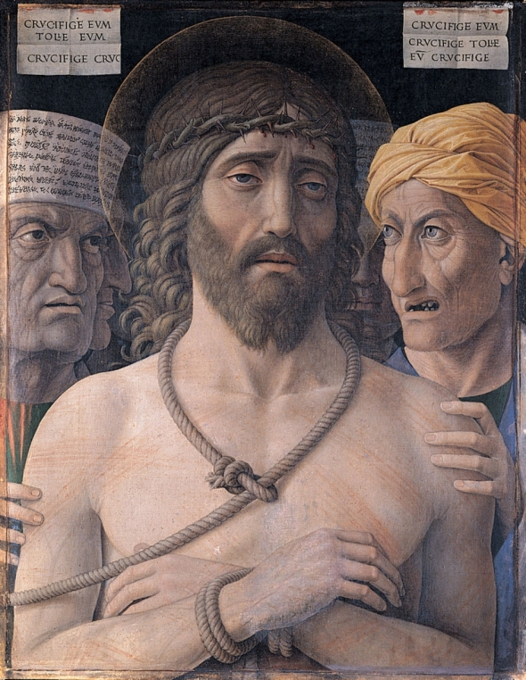 "Andrea Mantegna_Ecce Homo, painted around 1500_Ecce Homo are the Latin words ""Behold this man"" spoken by Pontius Pilate in John chapter 19, verse 5, when he presents a scourged Jesus to the hostile crowd just before His Crucifixion."