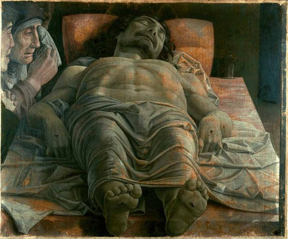 Andrea Mantegna_Lamentation over The Dead Christ_with Mother Mary and John_late 1470s