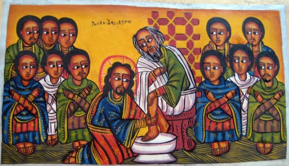 Jesus washes his disciples' feet_Ethiopian painting