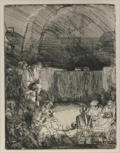 Rembrandt van Rijn_Jesús sepultado_Jesus Entombed_etching_1654