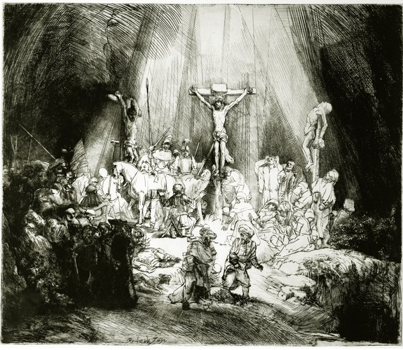 Rembrandt van Rijn_The Three Crosses_Christ between the two thieves_drypoint etching_1653