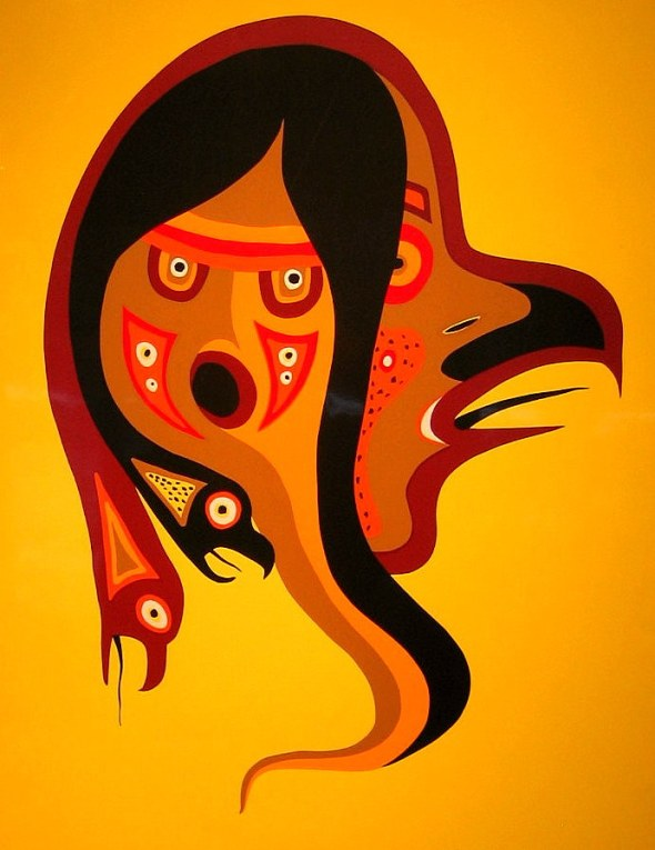 "Jackson Beardy, Oji-Cree painter (1944 -1984): ""Bird Calls"", 1977"