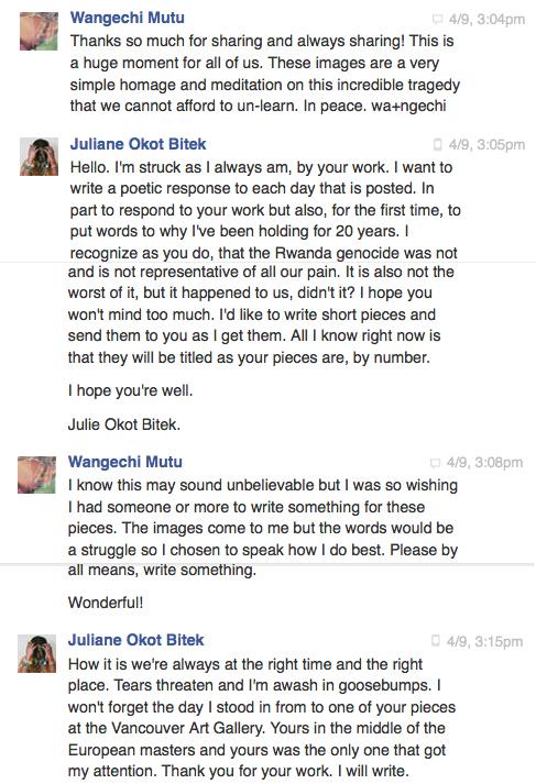 The initial Facebook conversation between Wangechi Mutu and Juliane Okot Bitek_April 2014