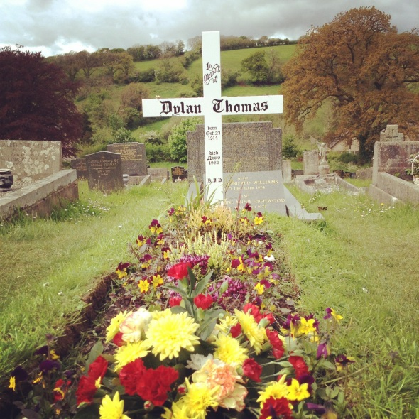 Dylan Thomas' grave at St.Martin's, Laugharne, Wales_photo by Andre Bagoo