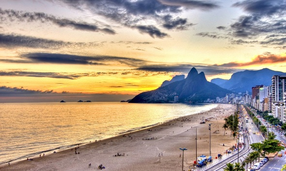 Ipanema Beach in Rio, at sunset_vintage colour photograph from the 1960s