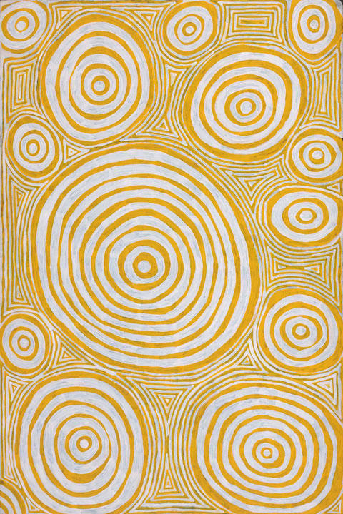 Jackie Giles  (1935-2010)_Purrungu rock hole showing underground travel coils of the ancestral snake or jila_2008