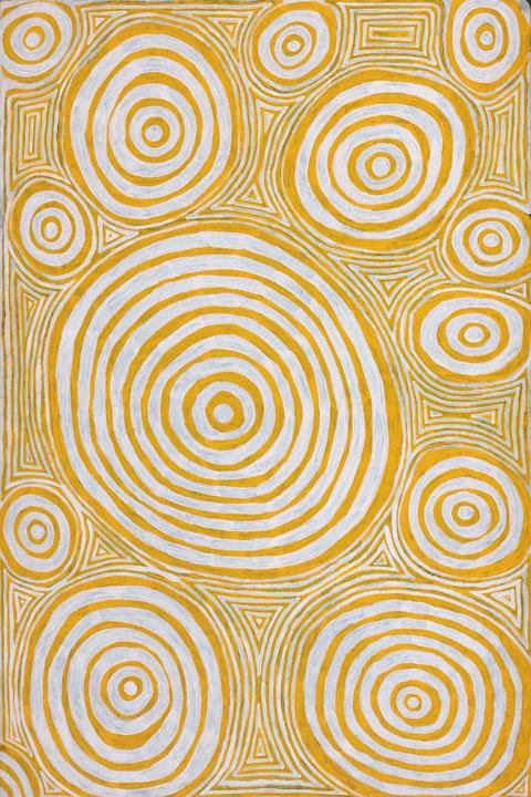 Jackie Giles  (1935-2010)_Purrungu rock hole showing underground travel coils of the ancestral snake or jila_2008