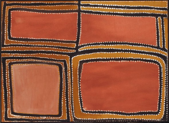 Rover Thomas (1926-1998)_Rock Country on Texas Downs_1988_bush gum and ochre