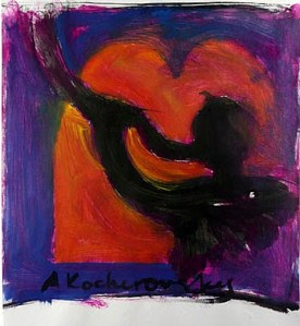 Shofar painting by Anna Kocherovsky