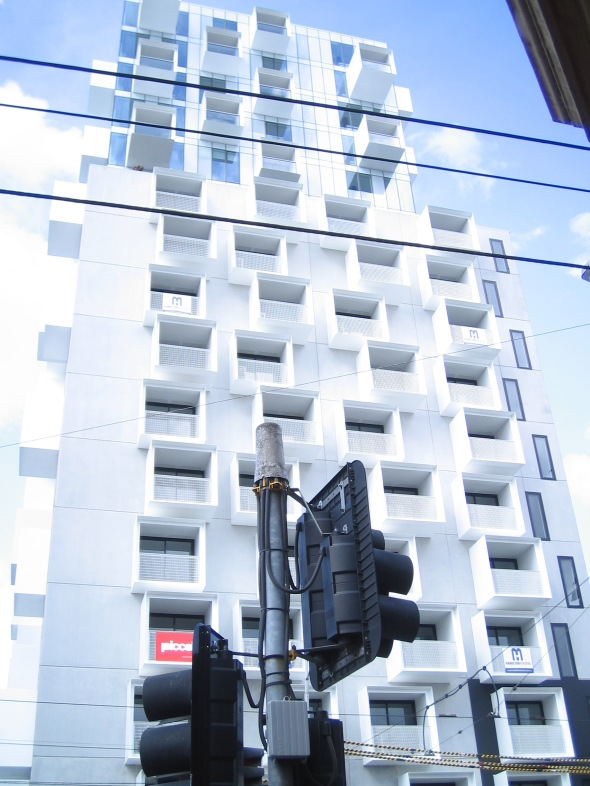 Melbourne architecture_apartment building at the corner of Swanston and Bouverie