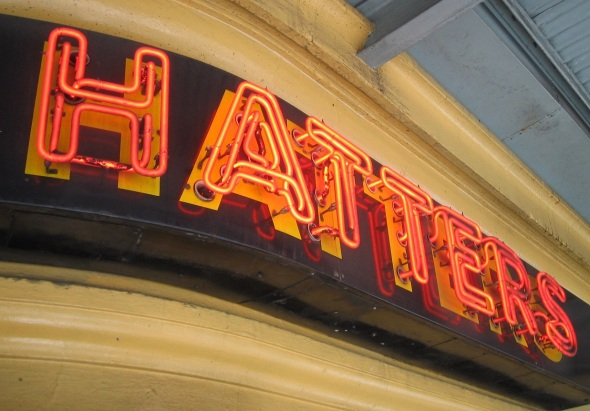 Melbourne_City Hatters sign below Flinders Street Station_Melbourne_September 2014