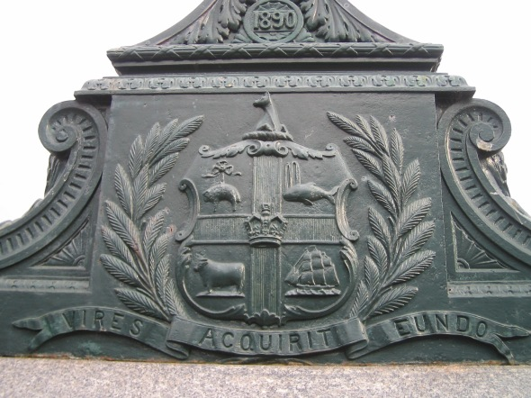 Melbourne_plaque on the bridge over the Yarra River where St.Kilda's Road meets Flinders Street_Vires Acquirit Eundo_It gathers strength by going_from Virgil's Aeneid