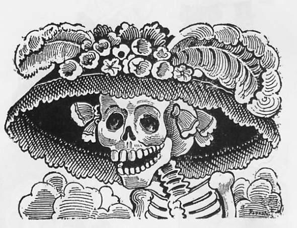La Catrina_zinc etching by J.G. Posada