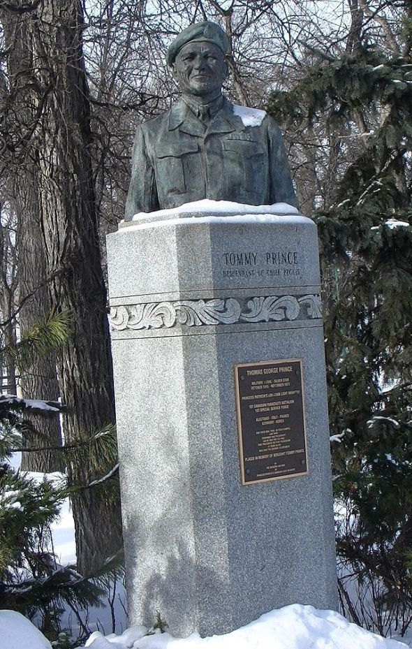 Ojibwe Tommy Prince, 1915 to 1977, great-great grandson of Peguis_ monument to Prince at Kildonan Park_Winnipeg, Manitoba, Canada