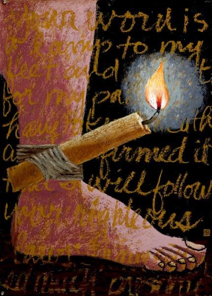 Salmos 119: 105: Lámpara es a mis pies tu palabra, y lumbrera a mi camino. Pintura por Wayne Forte_A Lamp Unto My Feet copyright 2007 by Wayne Forte