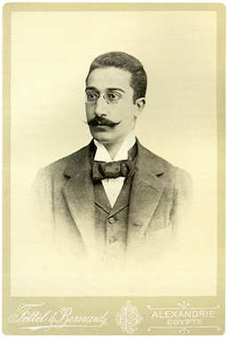 Constantine Cavafy in a photographic portrait taken in a studio in Alexandria Egypt_around 1900