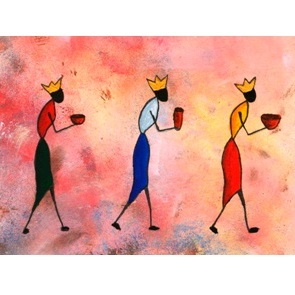 Greeting card_African Three Kings bearing gifts for the Christ child.....