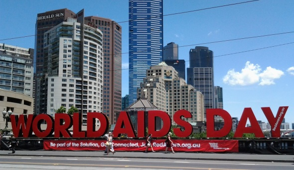 Melbourne Australia_World AIDS Day street sign on the St.Kilda Road bridge over the Yarra River_November 30th 2014
