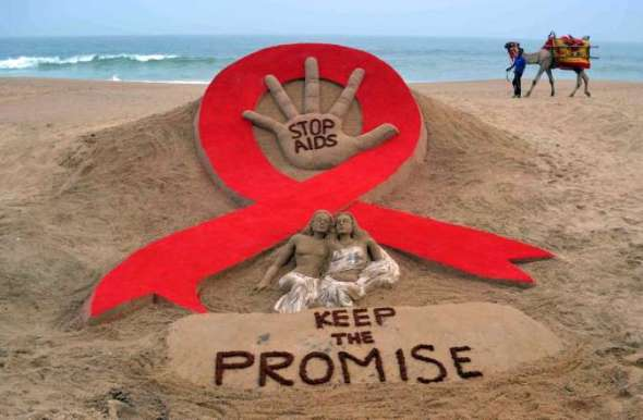 World AIDS Day 2013_sand sculpture by Sudarshan Patnaik at a beach in Puri_Odisha_India