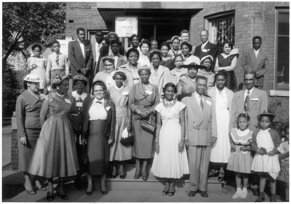 1954 photograph of Negro Citizenship Association Reception Tea_Donald Moore is in the back row third in from the right.