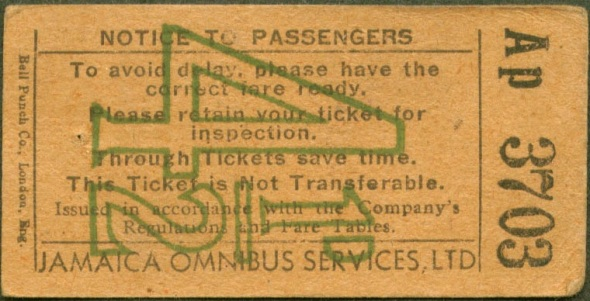 A vintage Jamaica Omnibus ticket_dimensions 1.5 inches by 2.5 inches_au verso is printed Courtesy Makes Life Smooth. The fare price, printed in pounds sterling, denotes a 1960s ticket, before the switch to a Jamaican dollar currency.