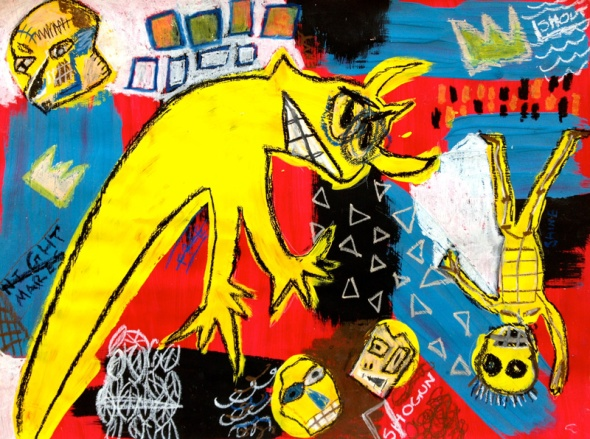 Jean Michel Basquiat_a painting by him used posthumously in a 1993 poembook by Maya Angelou called Life doesnt frighten me