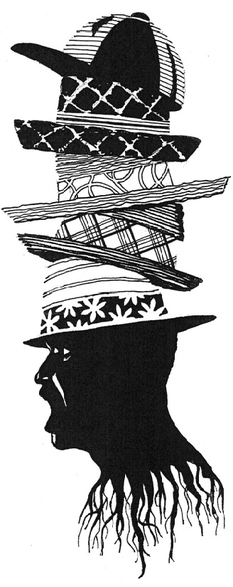 Silhouette pen and ink by Bruce Patrick Jones_The Calypsonian Master wears many hats:  Party inciter, social commentator, dueling wordsmith!