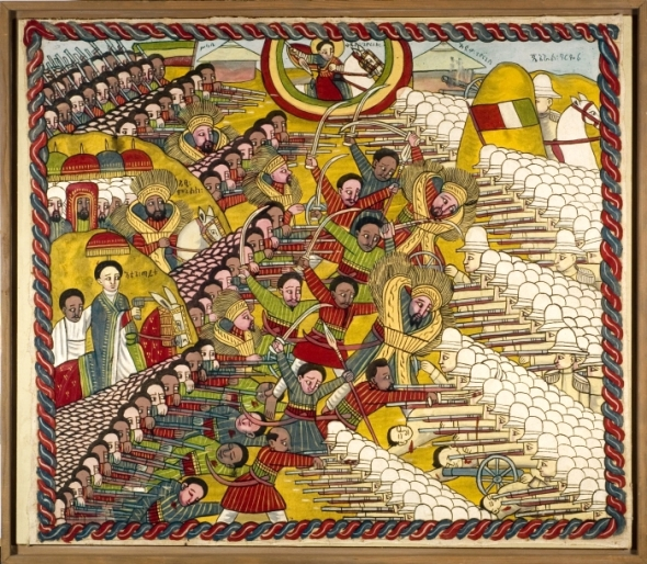 "The Battle of Adwa  fought in 1896 was the climactic confrontation of the First Italo-Ethiopian War, and it secured Ethiopian sovereignty. Painting from the collection of the Tropenmuseum in The Netherlands_Una representación de la victoria etíope contra los italianos en la Batalla de Adwa (1896). El imperio de Etiopía quedó independiente durante la era de dominio européo en África; este hecho histórico fue de suma importancia al nacimiento de un movimiento afro-caribeño cuasi-bíblico: el Rastafarianismo.  Robert Nesta Marley permanece el ""Rasta""  más famoso mundial."