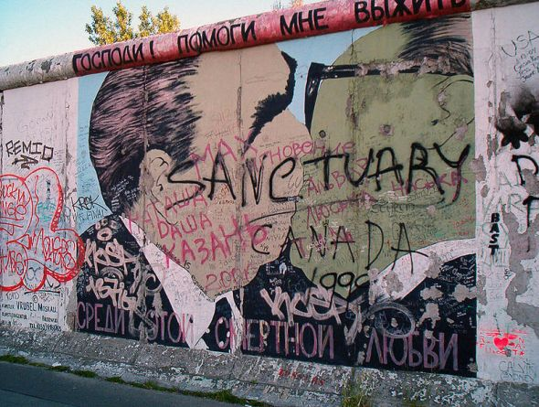 "Photograph from 2005 of a fragment of The Berlin Wall (1961-1989)...Osundare's poems, Checkpoint Charlie and Berlin 1884/5, treat ""The Wall"" ""falling"" with multiple ironies regarding History..."