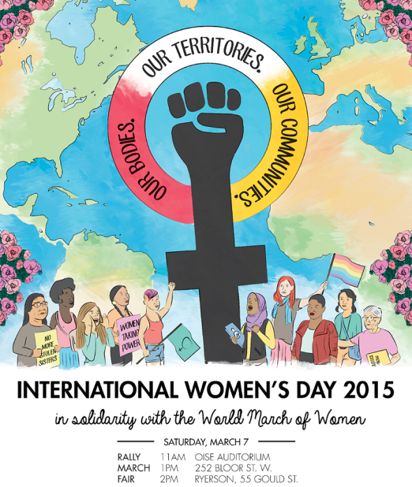 International Womens Day 2015_Toronto Canada_local city poster for march and rally