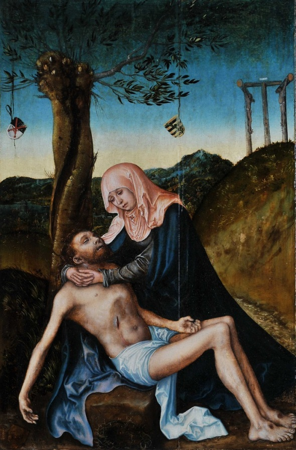 Lucas Cranach the Elder_Pietà beneath the Cross_painted circa 1510