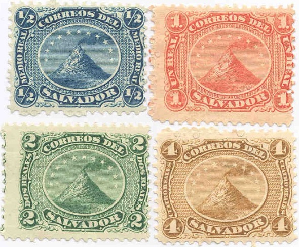 El Salvador postage stamps from the 19th century depicting Izalco volcano