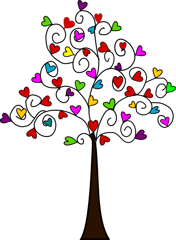 Tree of multicoloured heartshaped leaves